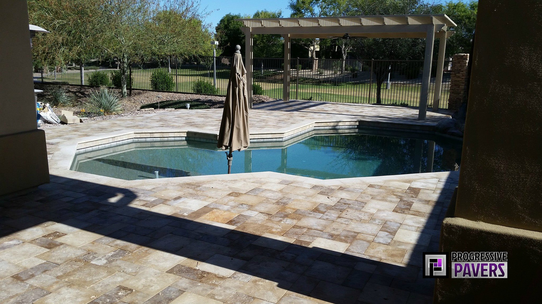 Custom Blend Of Belgard Cambridge Sedona Pavers For The Entrance Leading To  The Backyard Pool