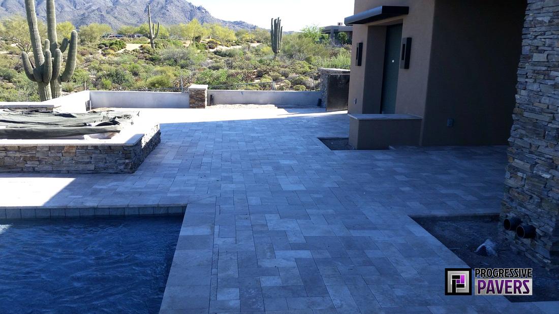 Bold Driveway Amp Pool In Scottsdale Progressive Pavers